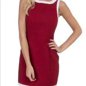 EUC Lauren James crimson/white seersucker dress